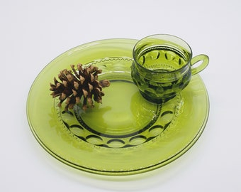 Vintage Avocado Green Glass Thumbprint Patterned Snack Set With Mug & Plate (10 Matching Sets Available!) Green Kings Crown / Indiana Glass