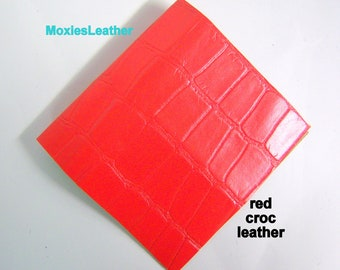 Leather pieces blue croco embossed  leather piece crafts scrapbooking jewelery 4x6 or 6x12