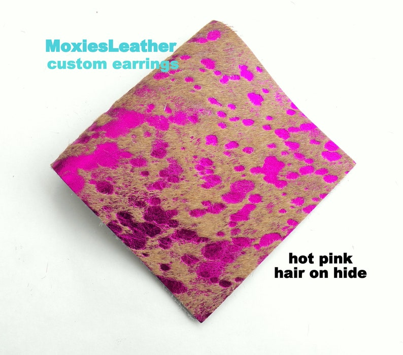 Hair on leather earrings or pieces of leather pink blue silver acid wash hair on hide leather HOH fur