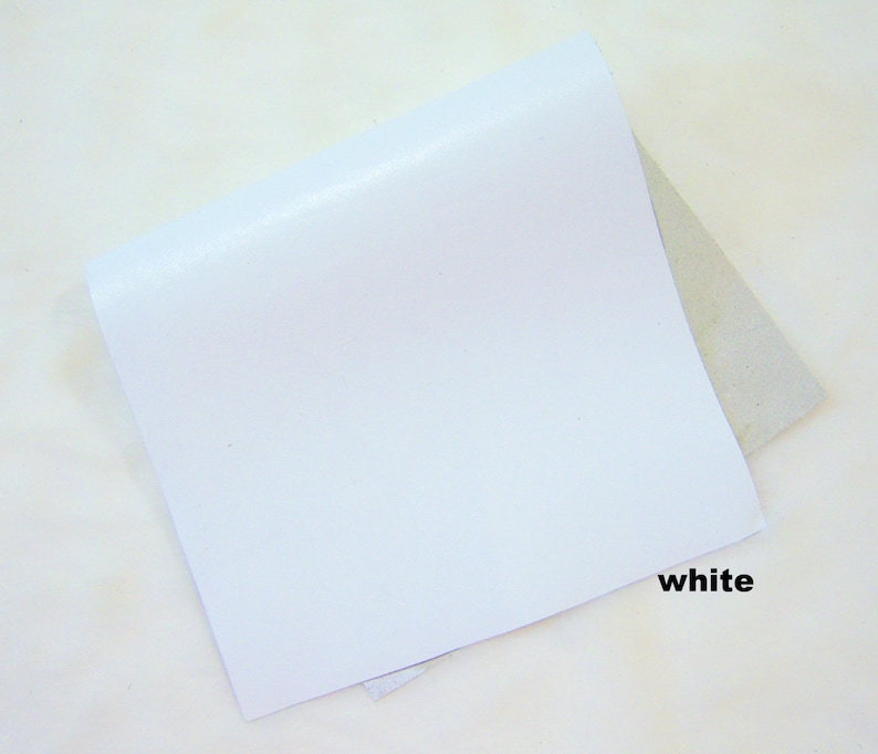 white lamb real genuine  leather piece skin crafts scrapbooking large piece