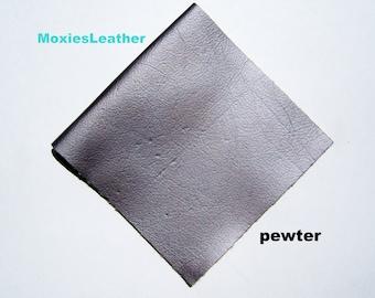 large size pewter genuine  leather fabric - genuine leather -leather pewter