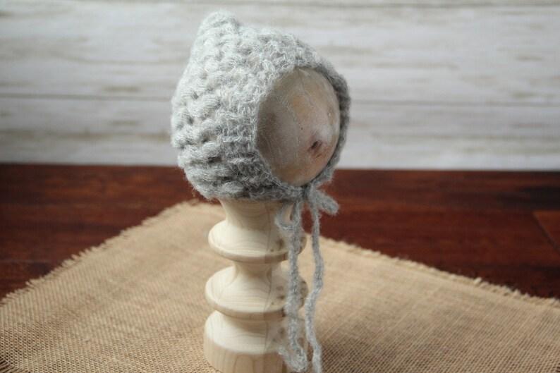 Ready to ship newborn bonnet newborn photography props. Light grey mohair newborn pixie hat crochet baby bonnet newborn photo prop