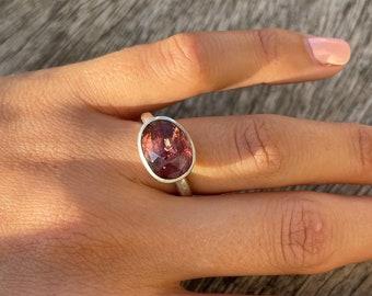 Handmade pink tourmaline silver ring, US size 8 3/4