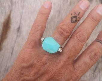 Arizona turquoise ring, blue stone ring, US size 7