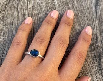 Kyanite silver ring, US size 6 1/2