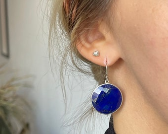 Lapis lazuli silver drop earrings,large faceted lapis lazuli earrings, round lapis lazuli earrings