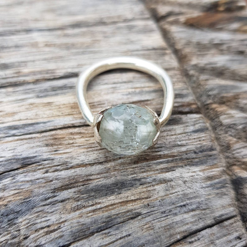 March birthstone Aquamarine ring solitaire US size 7
