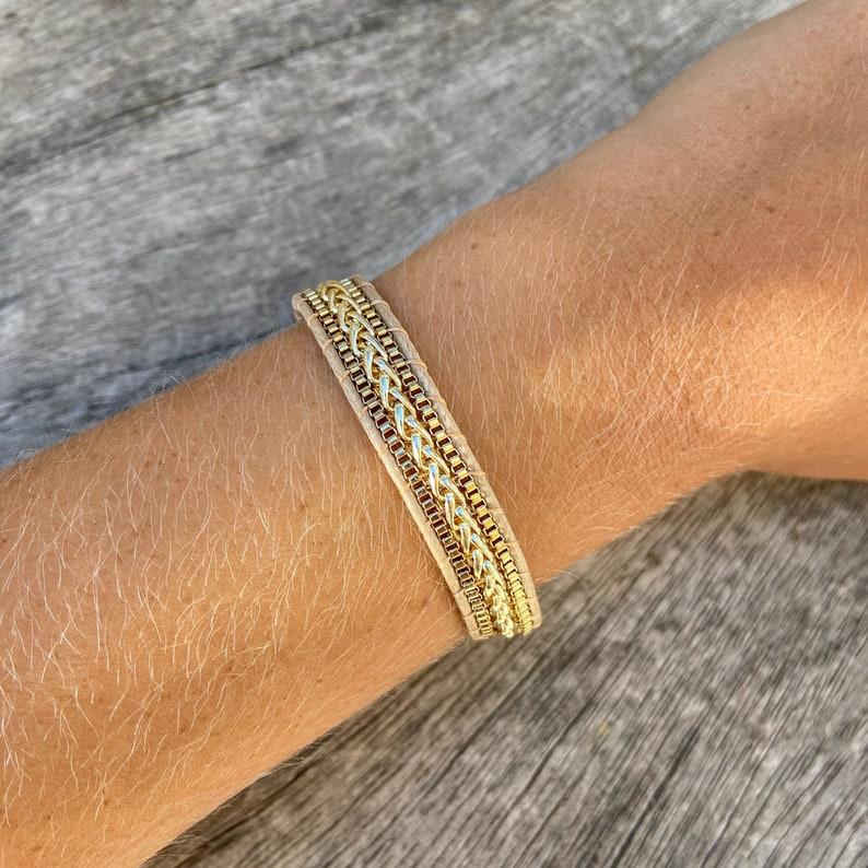 leather bracelet brass chain bracelet gold plated chain bracelet button bracelet dainty bracelet Ladder bracelet adjustable bracelet