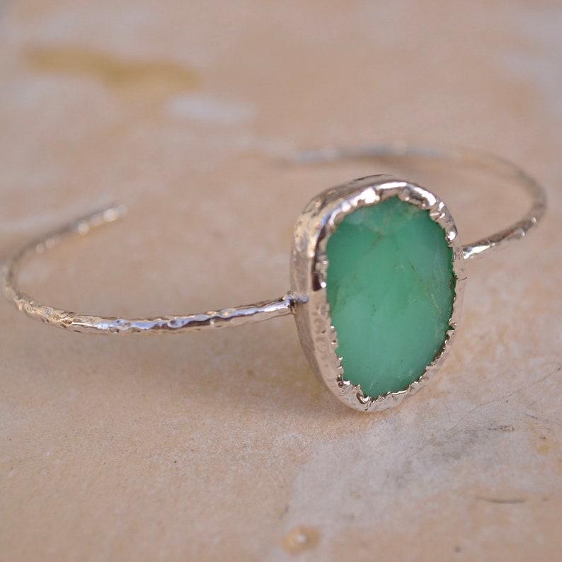 silver bracelet crysophrase bracelet silver cuff raw jewellery Crysophrase cuff