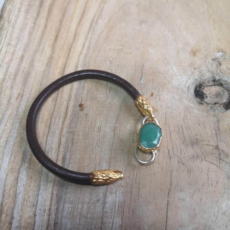 Chrysoprase gemstone lock bracelet eagle head unisex bracelet leather bracelet chrysoprase bracelet lock bracelet