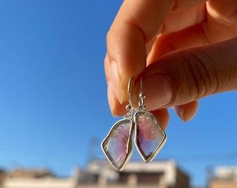 Watermelon Tourmaline slice silver earrings