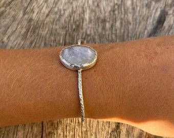 Rainbow moonstone silver cuff bracelet, handmade gemstone cuff