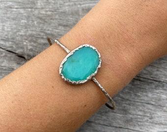 Chrysoprase cuff, silver bracelet, raw jewellery, chrysoprase bracelet, silver cuff