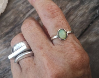 Ethiopian opal ring, dainty opal ring, sterling silver ring, silver opal ring, US size 7 1/4