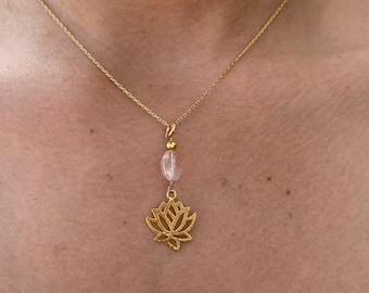 Rose quartz chain necklace, lotus flower charm necklace
