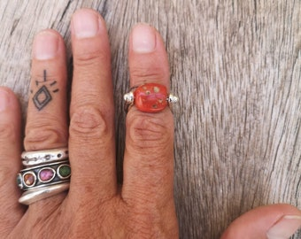 Coral ring, orange stone, US size 5.5