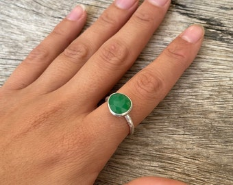 Chrysoprase silver ring, faceted chrysoprase ring, US size 8 1/4
