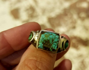 Turquoise silver ring, old ring, old silver