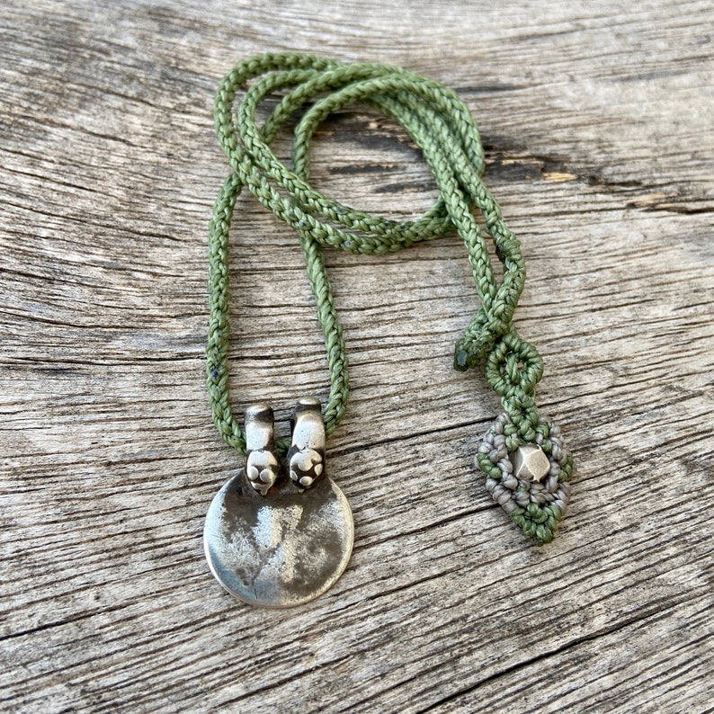 macrame necklace macrame jewelry tribal necklace unisex pendant Vintage silver necklace rupee coin pendant