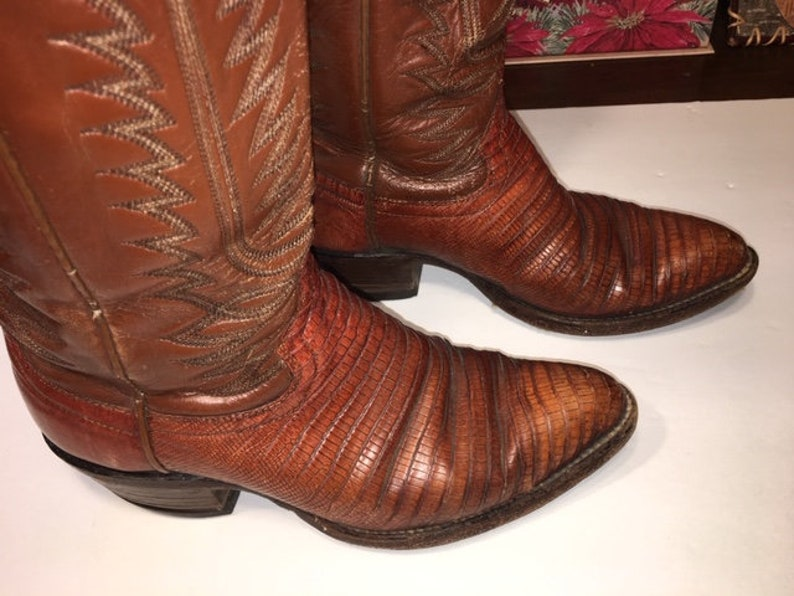 0c2a58533c2 Vintage Lizard Skin Cowboy Boots Stacked Leather Heels
