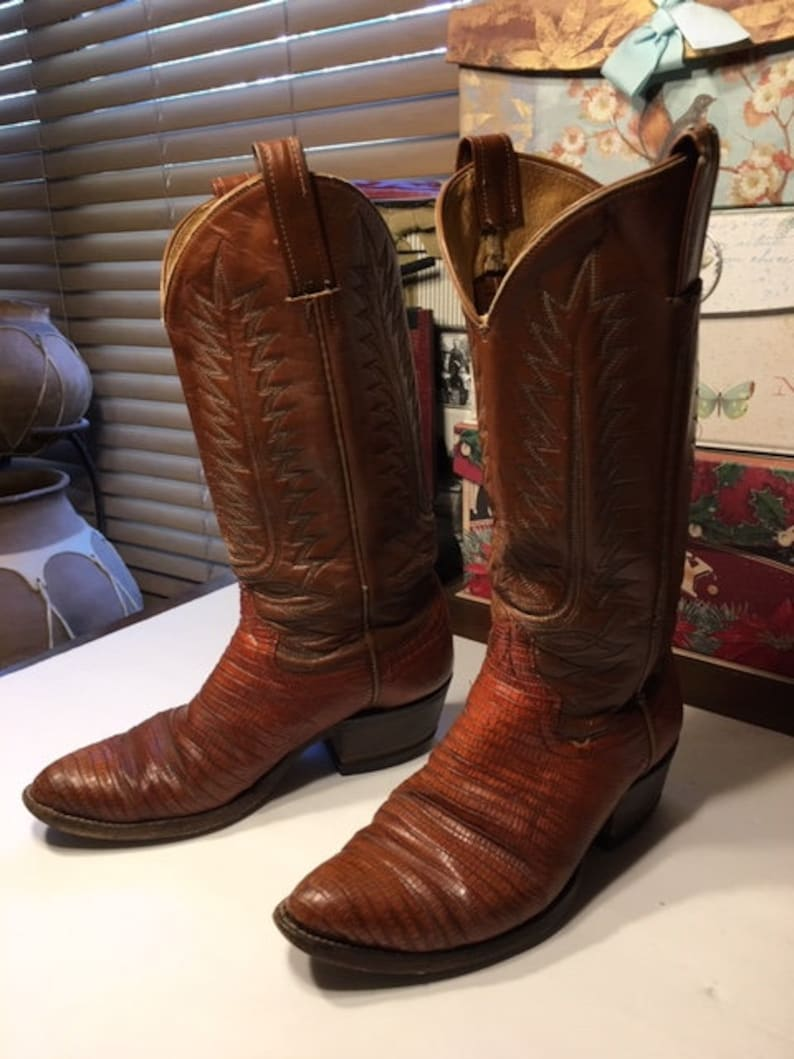 5888d5496ff Vintage Lizard Skin Cowboy Boots Stacked Leather Heels-- SALE