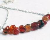 Carnelian necklace - carnelian stone - orange bar necklace - pebble necklace - minimalist necklace - burnt orange stone - orange necklace