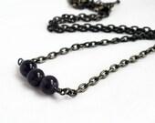 Amethyst necklace - purple necklace - purple bar necklace - amethyst beads - modern necklace - February birthstone - brass necklace