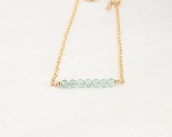 Aquamarine bracelet - blue bead bracelet - aquamarine gem stone - ocean blue beaded bracelet - minimalist aquamarine jewelry - blue green