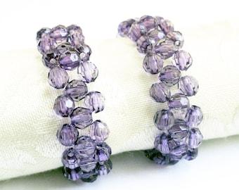 Beaded napkin rings - amethyst napkin ring - purple napkin rings - elegant napkin rings - woven napkin rings - serviette rings