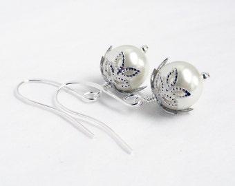 Winter white earrings - snowflake earrings - festive earrings - ice white earrings - winter white pearls - ivory white pearls - Christmas