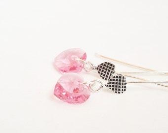 Swarovski rose heart earrings - sterling silver heart ear wires two hearts earrings - swarovski crystal rose pink sterling silver earrings