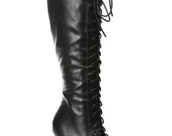 Black Lace Up Knee High Platform Boots 7M