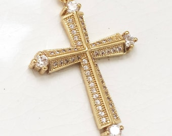 new stock gold plated cross with colorless rhinestones