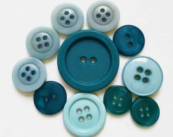 teal blue-green and contrasting robin's eggs blue new stock and vintage buttons--mixed lot of 11