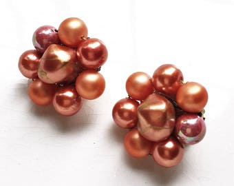peach pink and burnt orange cluster bead mid century vintage shiny clip on earrings made in Japan