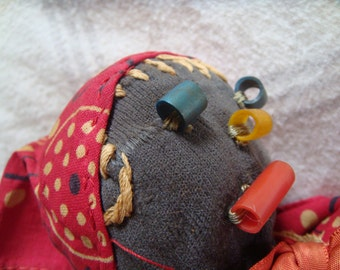 Folk Art Sock Doll Hand Stitched Very Old Primitive Toy