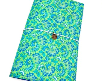 Moleskine Cover, Fabric Fauxdori, Bullet Journal Cover, Green and Blue Planner Cover- Ready to Ship
