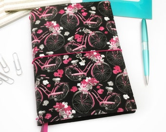Pink Bike Vegan Journal Cover, Fabric Fauxdori, Traveler's Notebook Cover, Travel Journal, Faux Dori Planner, Travel Diary
