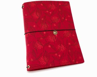 Red Fabric Journal Cover, Fabric Fauxdori Cover, A5 Travelers Notebook Cover, Travel Journal, Faux Dori Planner, Travel Diary, Dreamdori