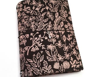 A5 Bullet Journal Cover, Black and Rose Gold Fabric Travelers Notebook Cover, B6 Dreamdori, A5 Notebook Cover, Fabric Fauxdori, BUJO Cover