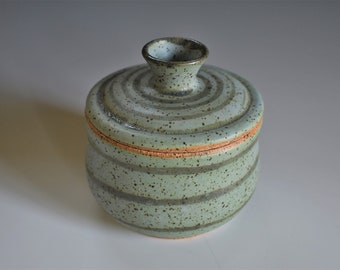 Rainbow Striped Ceramic Sugar Bowl or Pot with a Green Lid