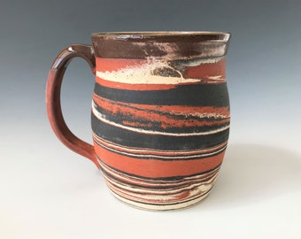 Red, Black, and White Marbled Mug