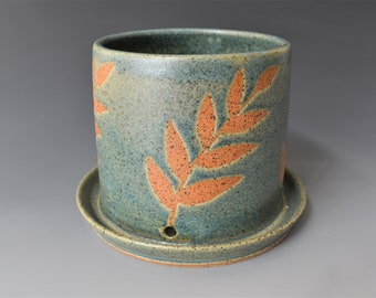 Green Leaf Patterned Ceramic Planter with Attached Drip Tray