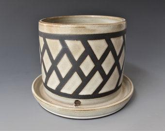 White Ceramic Planter with Geometric Line Design