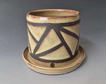 Beige Ceramic Planter with Geometric Line Design
