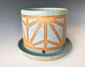 Light Blue Ceramic Planter with Geometric Line Design