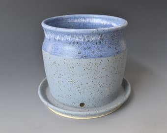 Blue Speckled Ceramic Planter with Attached Drip Tray