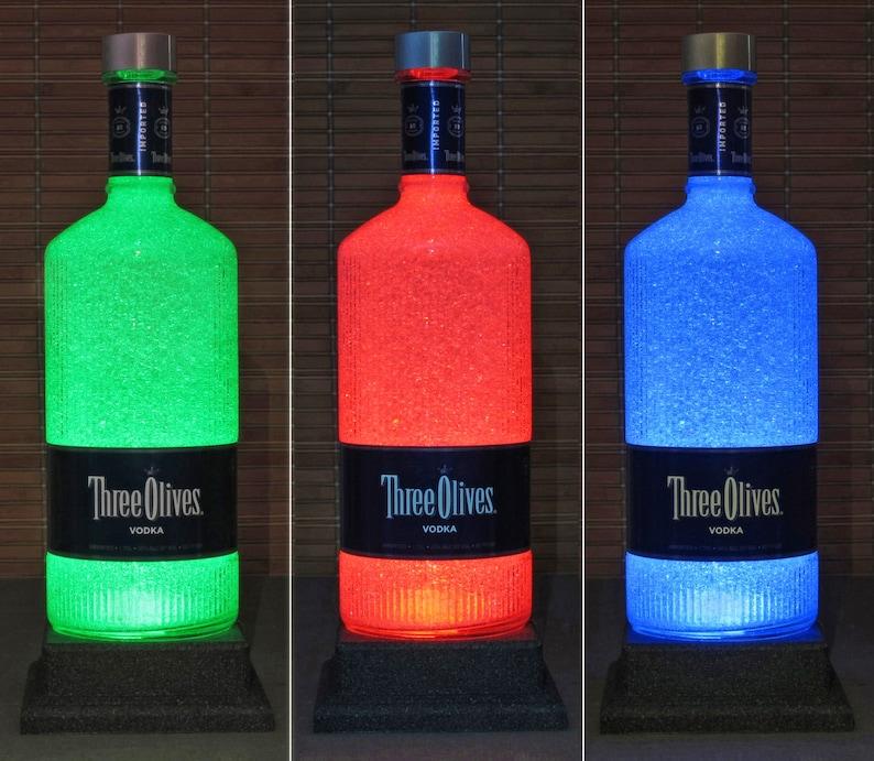 Three Olives English Vodka 1.75 Liter LED Color Change Bottle Lamp Remote Control Bar Light Man Cave Accent Lamp