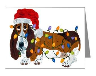 Basset Hound Tangled In Christmas Lights/Christmas Cards/Basset Note Cards/10 Note Cards & Envelopes/Assortment Available/Squirreldumplings