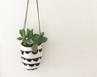 Cute Hanging Planter Ceramic Planter / Succulent Planter Black and White Design